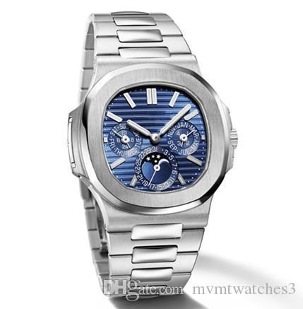 패션 명품 디자이너 남성 시계 자동 기계식 블루 다이얼 노틸러스 문 단계 316L 스틸 팔찌 군사 시계 남성 남성 시계