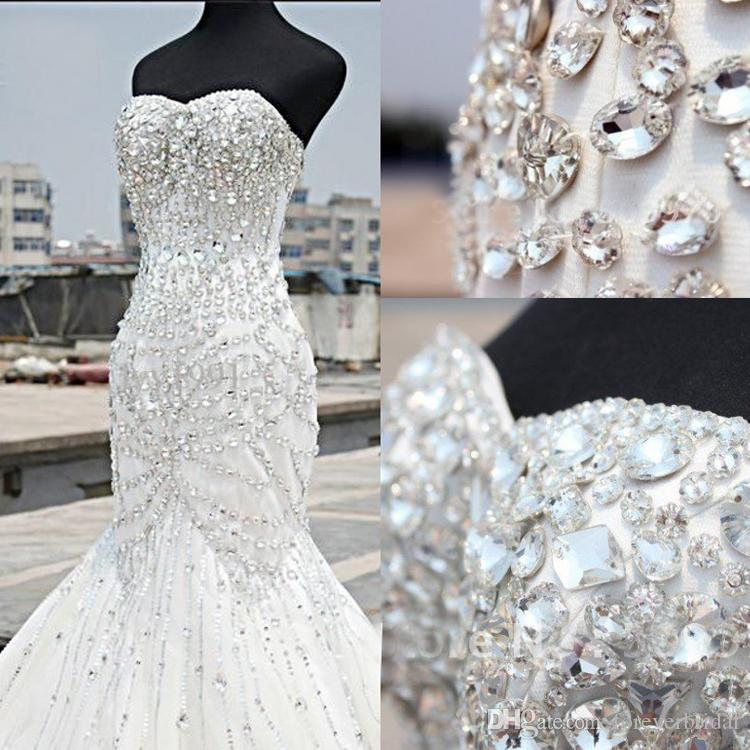 Luxury Beading Crystals Mermaid Wedding Dresses Strapless Neck Sleeveless Lace Sequins Bling Bling Bridal Gowns High Quality Custom Dress