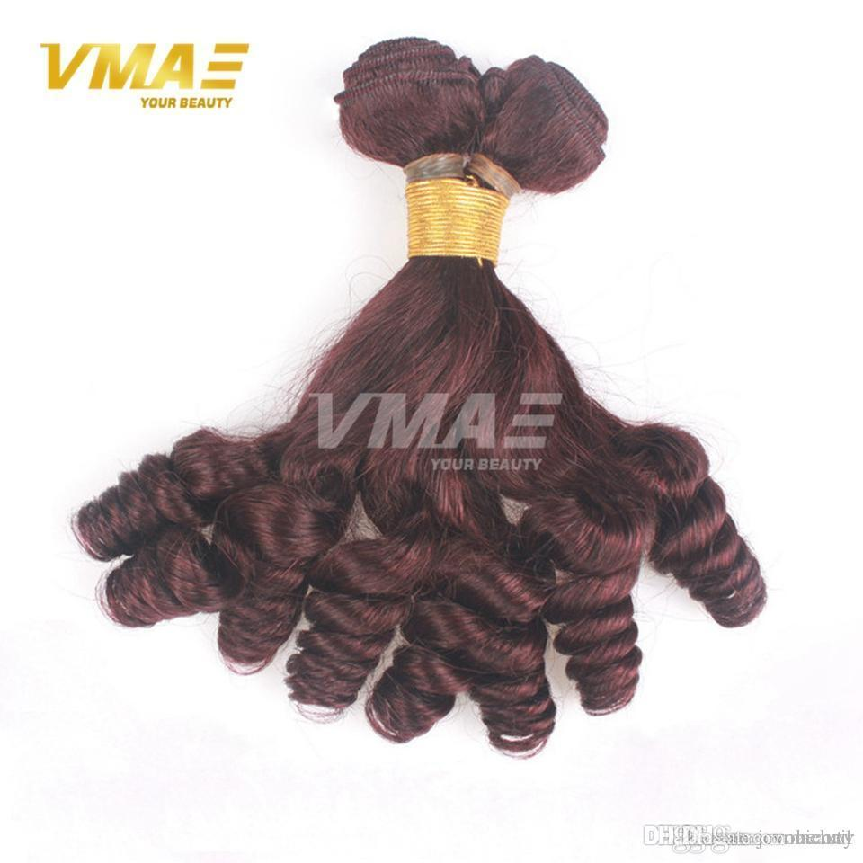 Popular anuty Funmi Hair For Black Women 3 Bundles Cheap Color#99j Burgundy Unprocessed Virgin Bouncy Curly Human Hair Weave