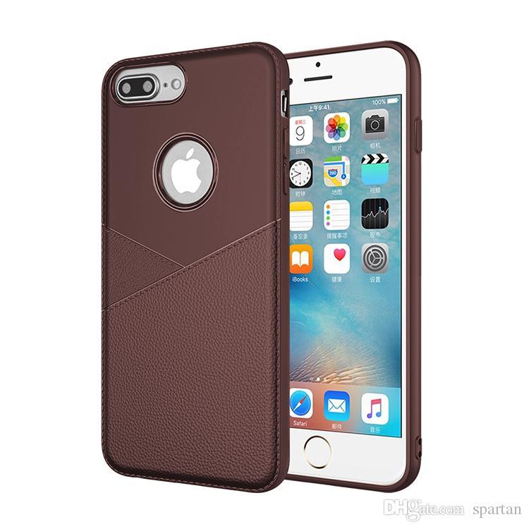로고가있는 실리콘 케이스 슬림 한 부드러운 TPU 무광택 비즈니스 용 가죽 질감 iPhone 케이스 용 텍스처 커버 케이스 XS XS MAX 8 7 Plus 6s Samsung S10 Plus
