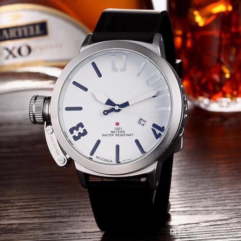 남성 손목 시계 블랙 고무 신사 쿼츠 시계 실버 패션 남성 스포츠 캘린더 상자 시계 다이얼