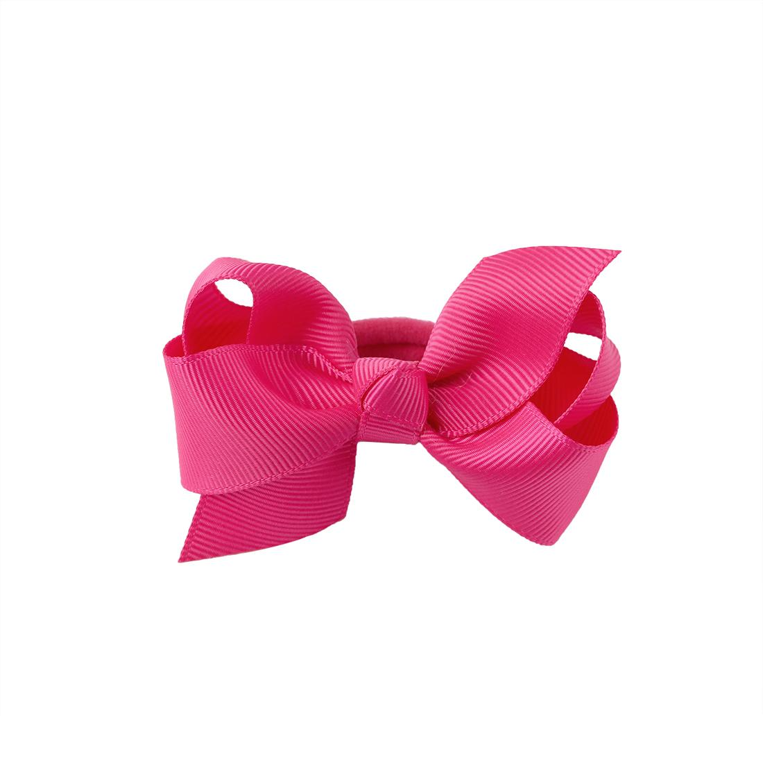 2 Pieces 3 Inch Ribbon Hair Bows Elastic Hairbands Kids Cute Bows Hair Ropes Ties for Girls Ponytail Holder Hair Accessories