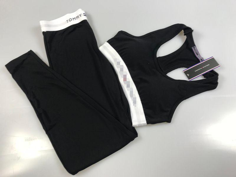 Mujeres chándales de cultivos Tops Pantalones 2pcs Diseño Slim Fit Yoga Deportes sistemas de la ropa de las mujeres Trajes de Yoga Pantalones Mujeres chándal Chaleco B105244L