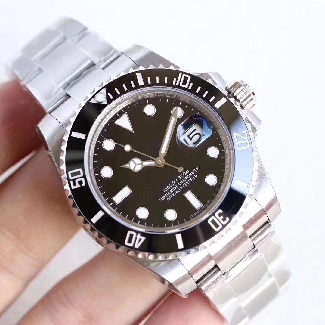 U1 Fábrica Venta caliente relojes de pulsera zafiro negro cerámico bisel acero inoxidable 40mm 116610ln 116610 relojes mecánicos automáticos relojes para hombre