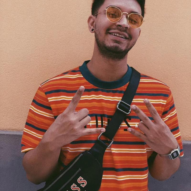 J Balvin bordado rayada tee Propósito Camiseta del viaje de A $ AP Rocky ASAP gran tamaño camiseta a rayas mujeres de los hombres de moda las tapas ocasionales HFLSTX497