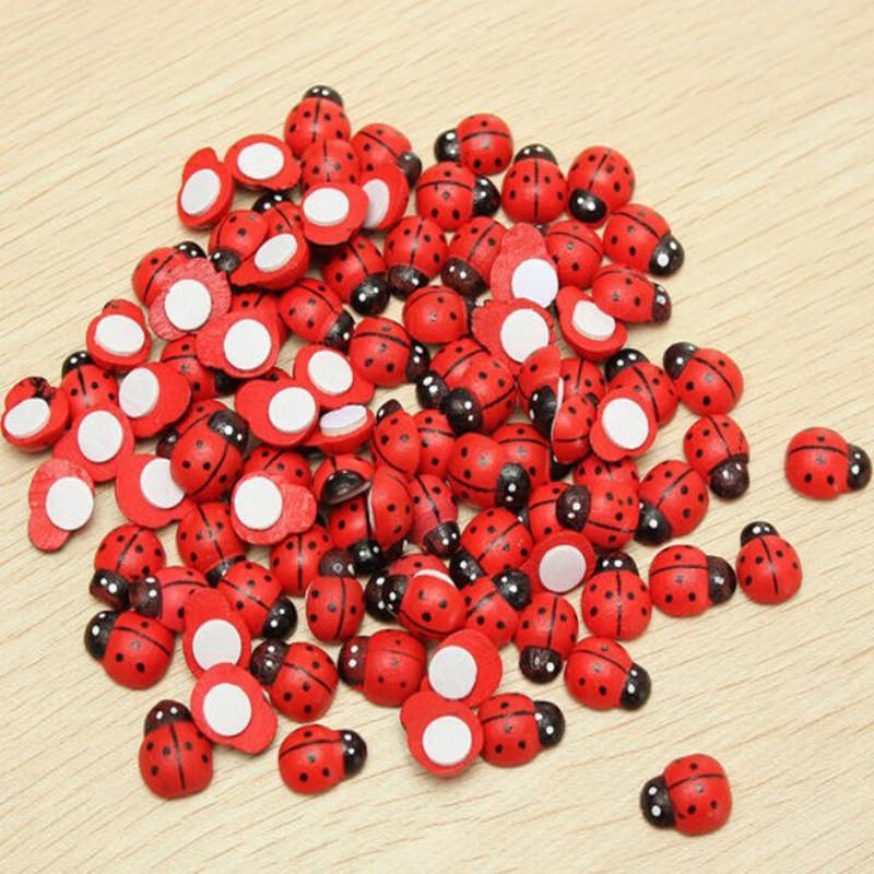 Rosso sveglio 1000Pcs legno Ladybird Wall Sticker Bambini Bambini Painted adesivo del magnete del frigorifero del mestiere di DIY decorazioni domestiche