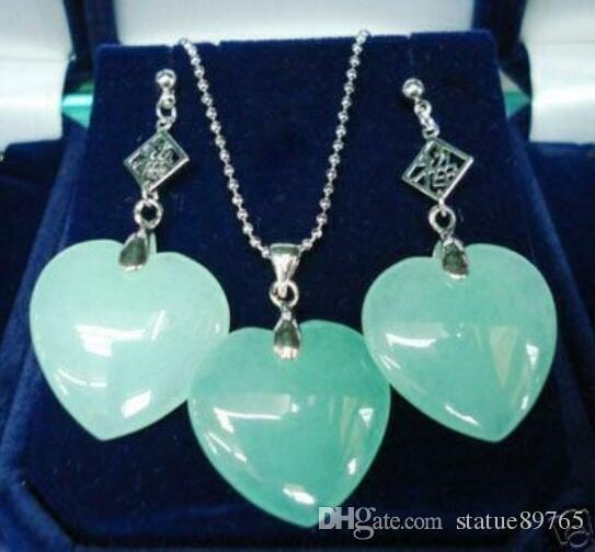 Jewelryr Jade Set al por mayor hermoso plateado en forma de corazón verde Pendiente de piedra natural y conjunto de joyería colgante Envío gratis