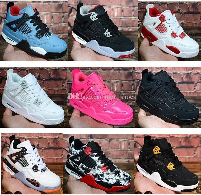 Kids 4 Bred Cactus Jack Pure Money Basketball Shoes 4s Children Boy Girls Pink White Royalty Black Cat Sneakers Toddlers Birthday Gift
