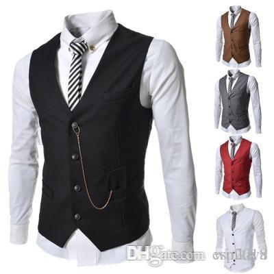 dos homens formais Colete New Arrival Moda Noivo Smoking Wear Noivo Coletes Casual Magro Vest Custom Made Com Corrente