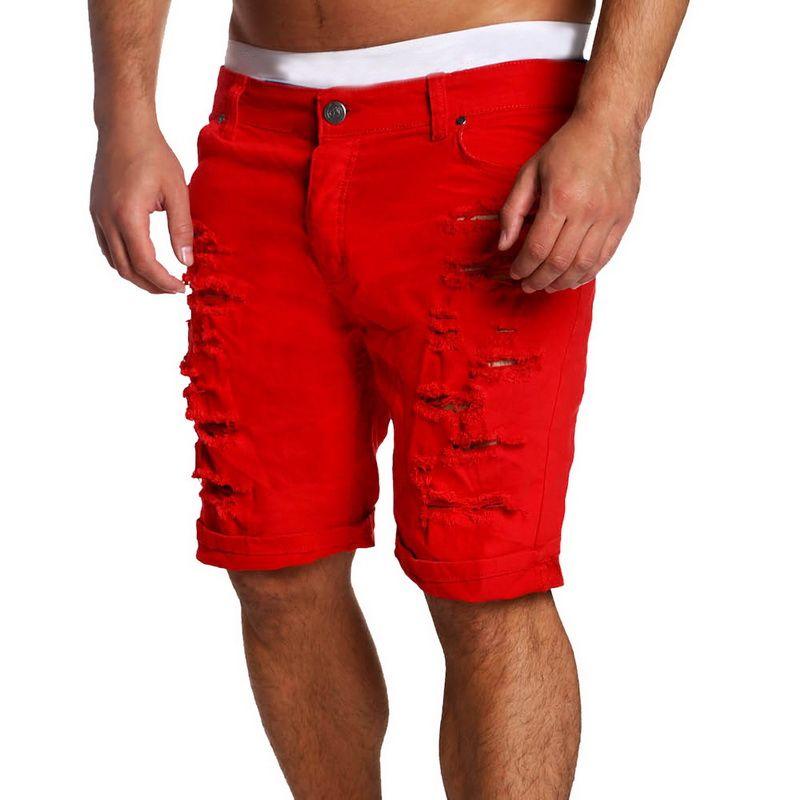 HEFLASHOR Neue Sommermens-Loch Kurzschluss-Jeans Männer Baumwolle Dehnt beiläufige Jeans-Shorts Hosen Art und Weise der heißen Verkaufs-Cowboy Hosen Männlich
