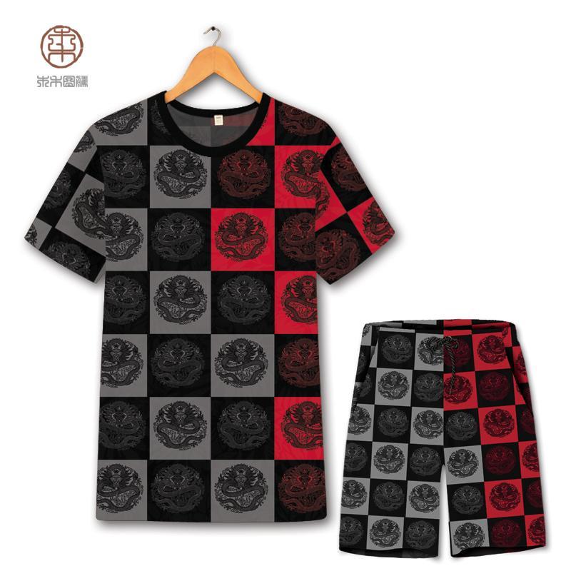 estilo chino moda de impresión de gran tamaño tótem dragón t shirtshorts trajes de verano 2018 para hombre de la calidad transpirable hueco series cortas