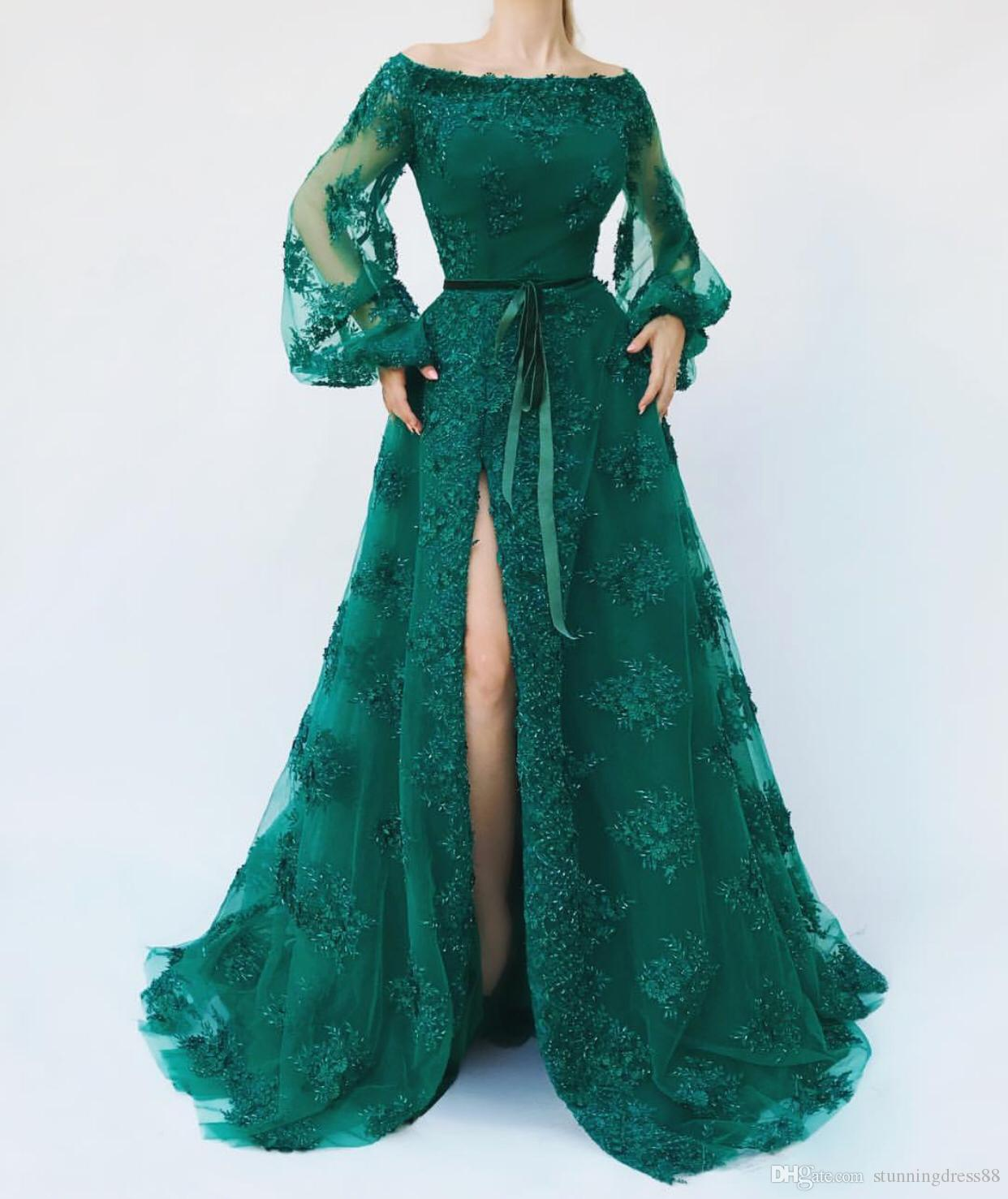 African Style 2020 Prom Dress Off the shoulder Cheap Emerald Green Scoop Neck Illusion Juliet Long Sleeves High Slits Lace Applique Sequins