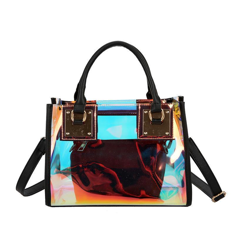 2020 Transparente hombro del cubo bolsa de jalea láser diseño del bolso de las mujeres bolso de PVC transparente femenina de la cadena de Crossbody de bolsas de mensajero