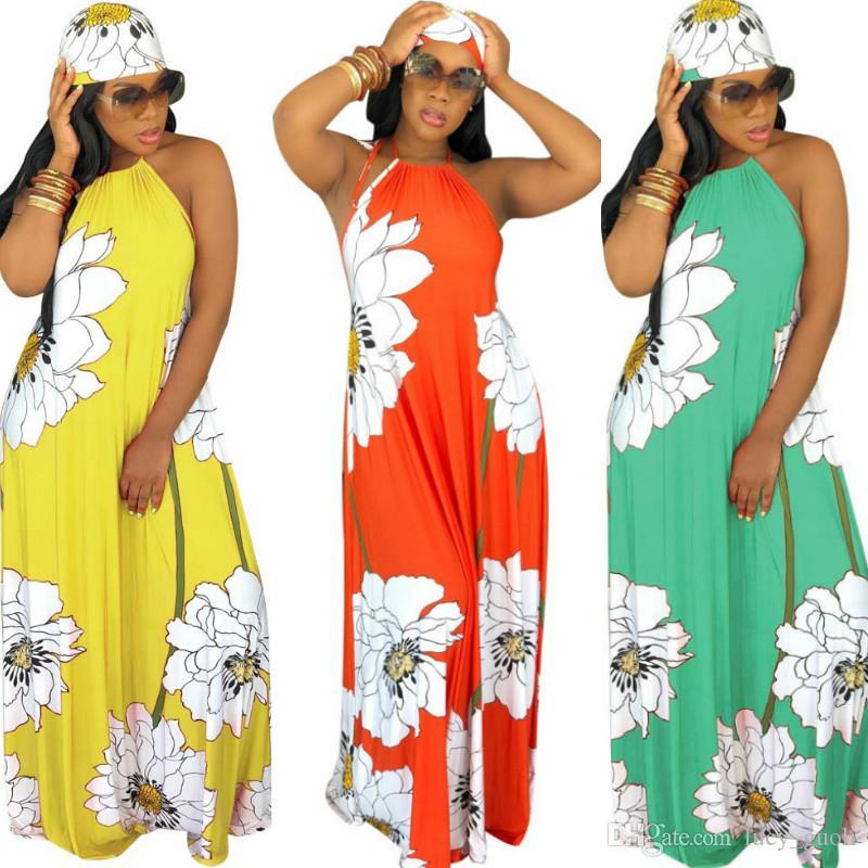 Floral Print Summer Boho Dresses Women Off Shoulder Backless Long Beach Dress Casual Halter Sleeveless Loose Maxi Dress With Headscarf S-XXL
