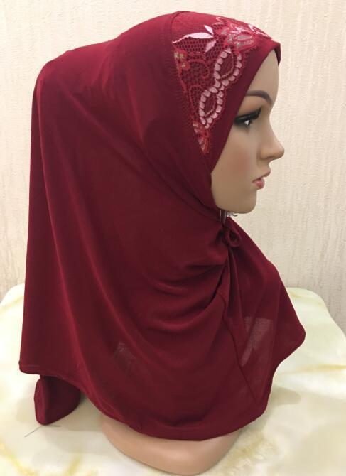5PCS / LOT cor sólida muçulmana Hijabs Cap costura Lace Net Flor Turban Mulheres Amira Fácil Pull-on instantâneo Lenço pronto a vestir
