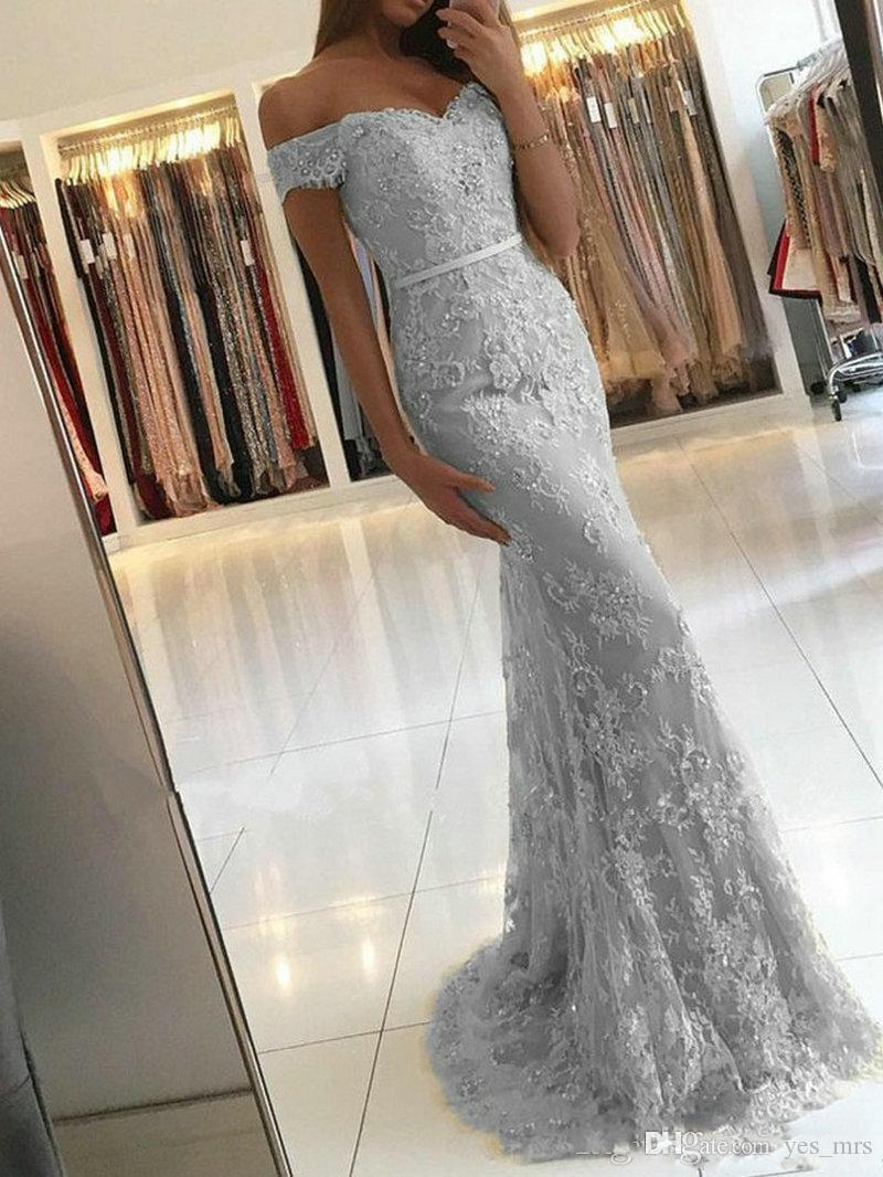 2019 árabe sereia vestidos de noite de prata fora do ombro apliques de renda cheia frisada faixa trem da varredura plus size dubai vestidos de festa de formatura