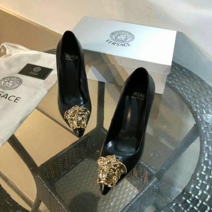 Four Seasons New punta con tacco alto a spillo semplici scarpe da single bocca nozze selvaggio poco profonda per le donne alti tacchi neri col tacco jasmine11