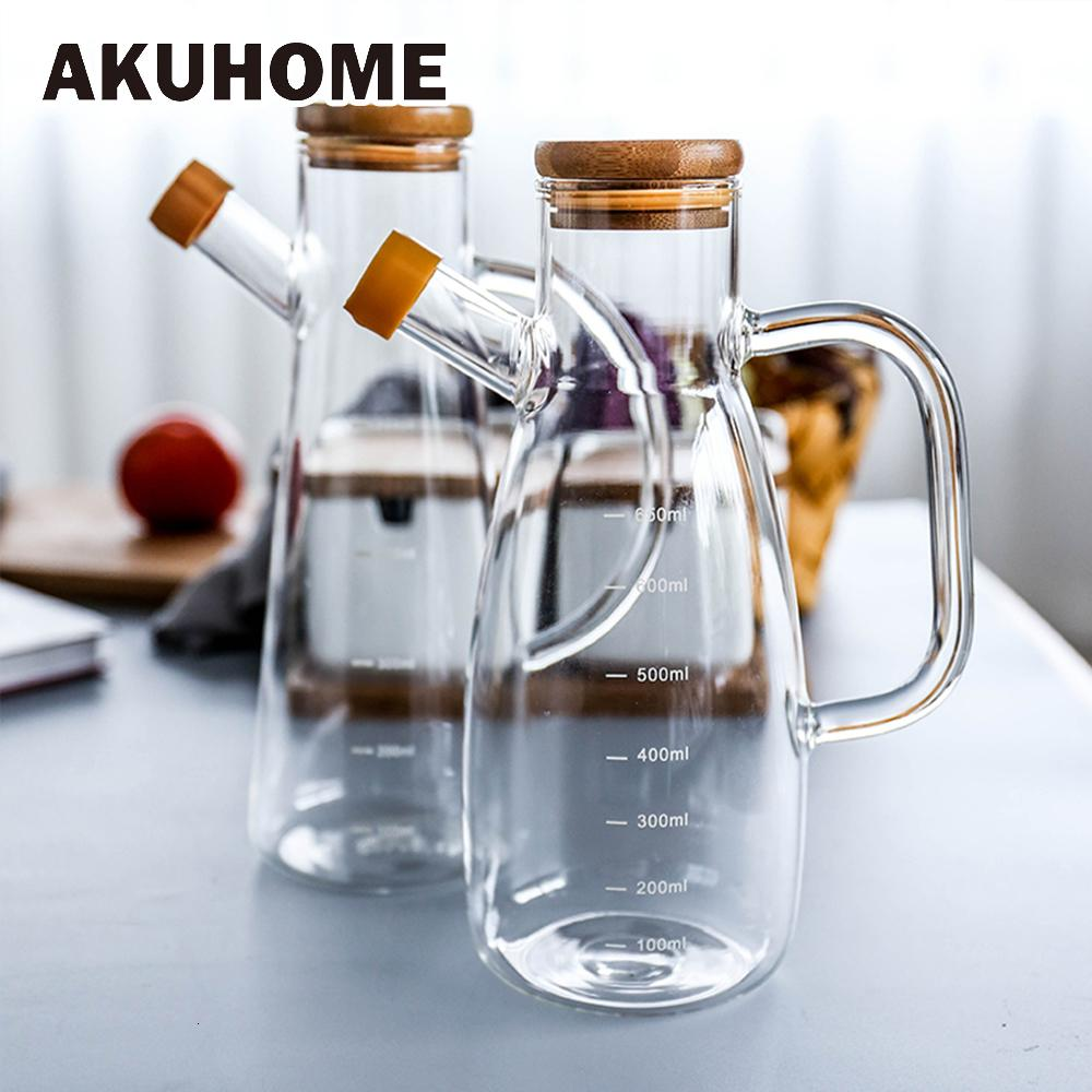 Transparent Glass Oil Bottle with Handle Scale Heat-resistant Lecythus Kitchen Tools Soy Vinegar Sauce Container SH190925