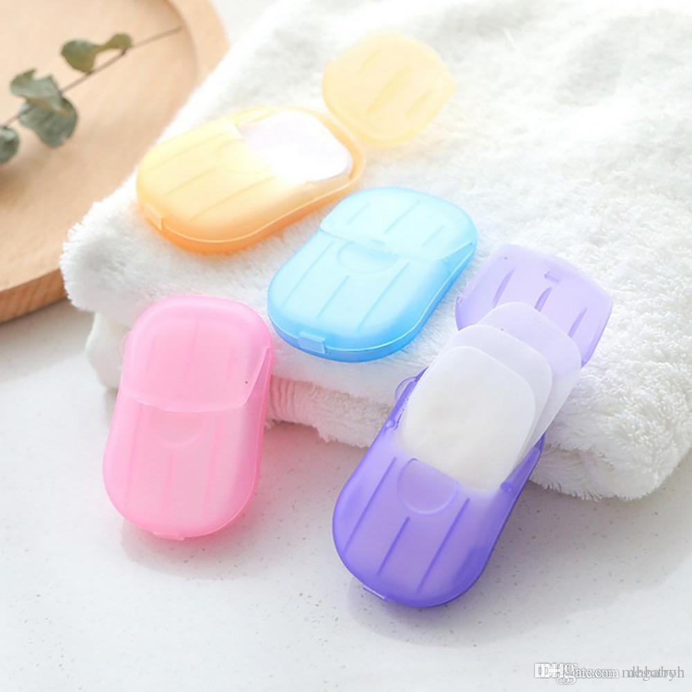 Viaggia Portable Paper Soap circa 20pcs lavaggio delle mani Bagno fetta foglio profumato schiuma del sapone di corsa Carta