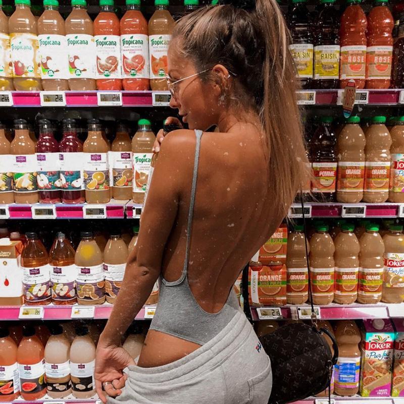 couleur unie de spaghetti sexy backless partie des femmes bodysuit jumpsuit nouveau casual Feminino corps catsuit