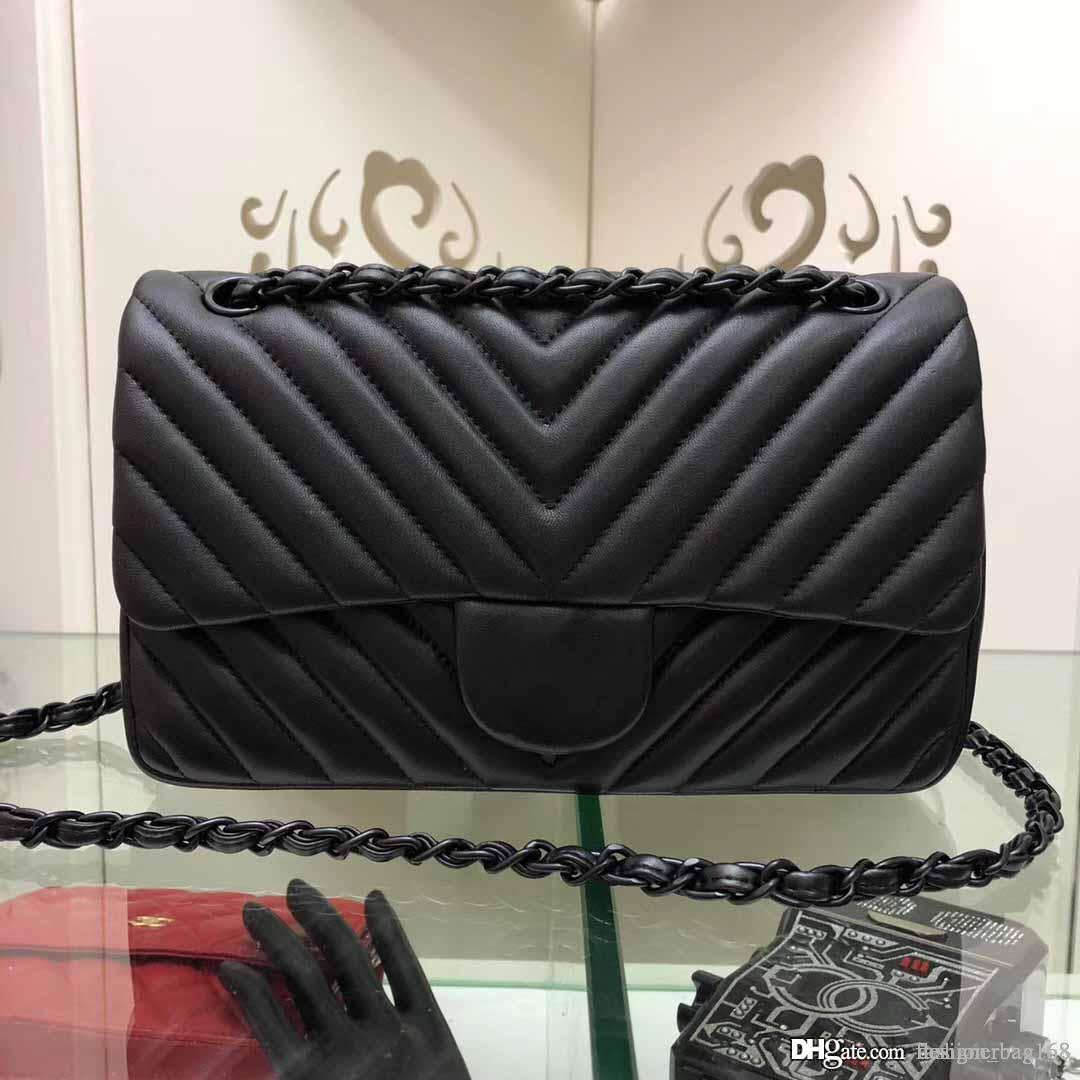 Yeni Klasik Moda Tasarımcısı Kadınlar Çanta Zinciri crossbody kuzu derisi çantalar Küçük Omuz Çantaları Gerçek Deri Messenger Çanta Bez Çanta 25cm