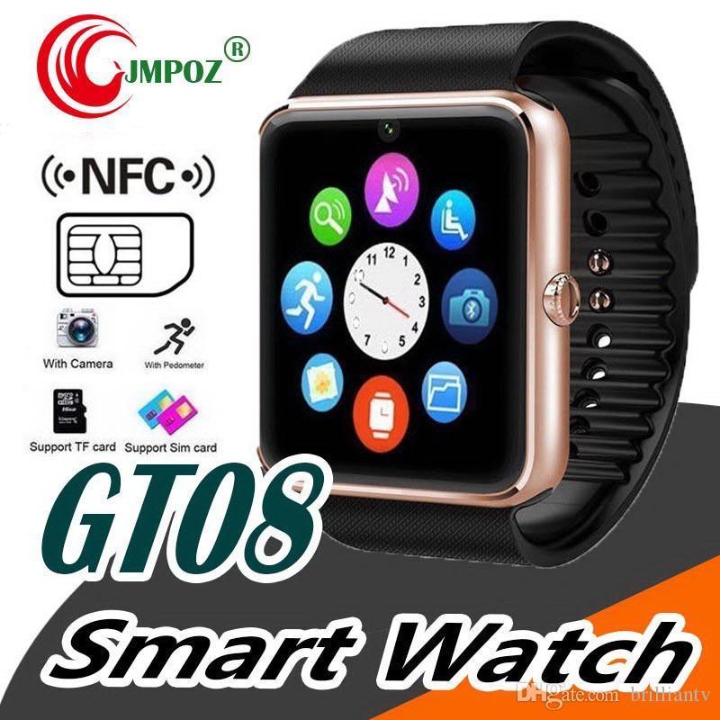 GT08 Bluetooth SmartWatch со слотом для SIM-карты Часы здоровья NFC для Android Samsung и Apple iPhone Смартфон Смарт-часы с коробкой
