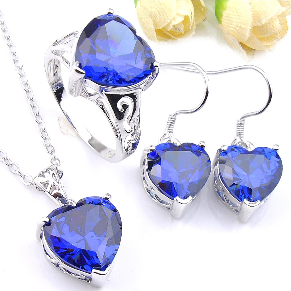 Luckyshine Lady Engagement Sets Blue Heart-shaped Crystal Cubic Zirconia 925 Silve Pendants Earrings Rings Jewelry Sets New Hot