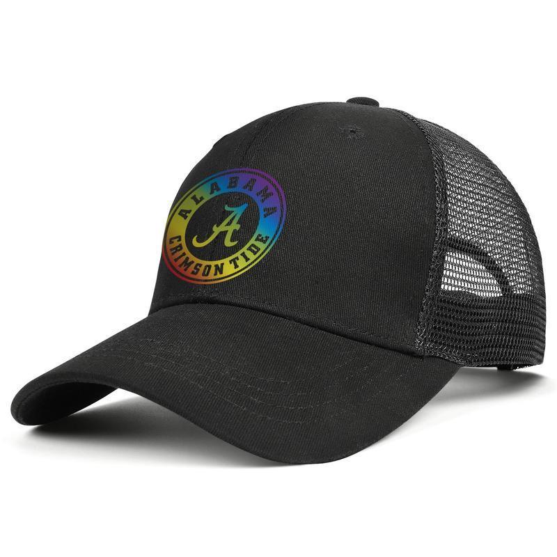 Alabama Crimson Tide de football arc-en-Gay pride logo noir pour les hommes et les femmes camionneur sport concepteur cool baseball casquette de chapeaux d'or