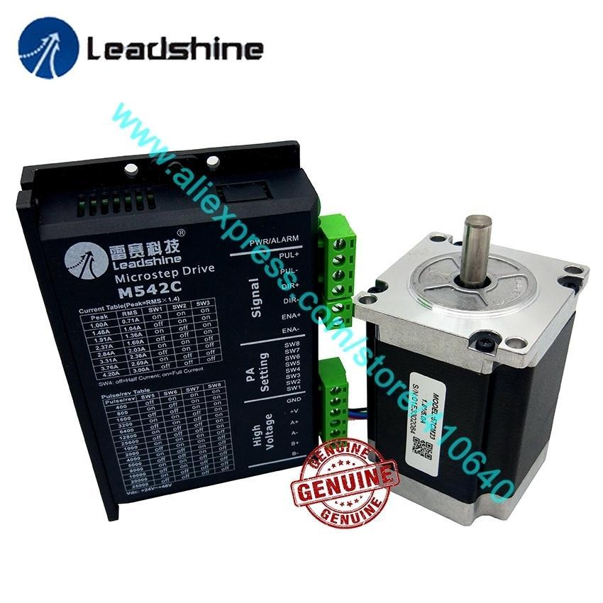 Véritable moteur pas à pas NEMA23 de Leadshine 57CM23, arbre de 2,3 mm, couple de commande de couple et de moteur pas à pas analogique 2 phases M542C, maxi 50 VDC 4.2A
