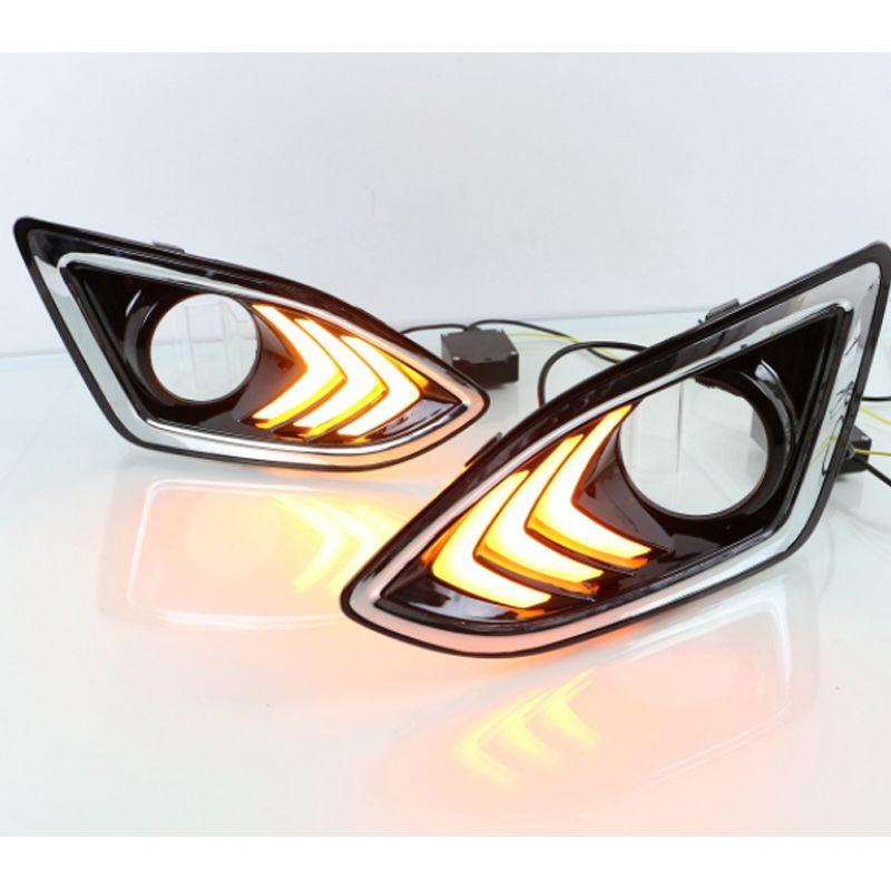 Araç Yanıp sönen LED Gündüz 13-16 Ford kenar LED Gündüz Işık Fog lampwith Sarı torna sinyal ışıkları Koşu için Işık Koşu