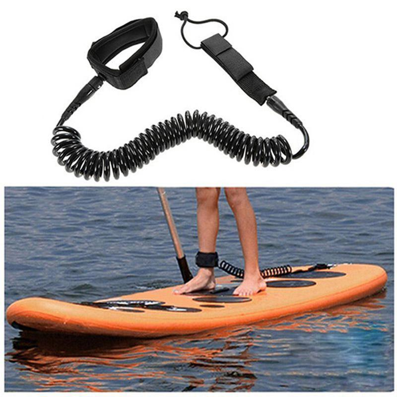 10 ft Surfboard Leash Coiled SUP Stand Up Paddle Board Leash Leg Rope 7mm
