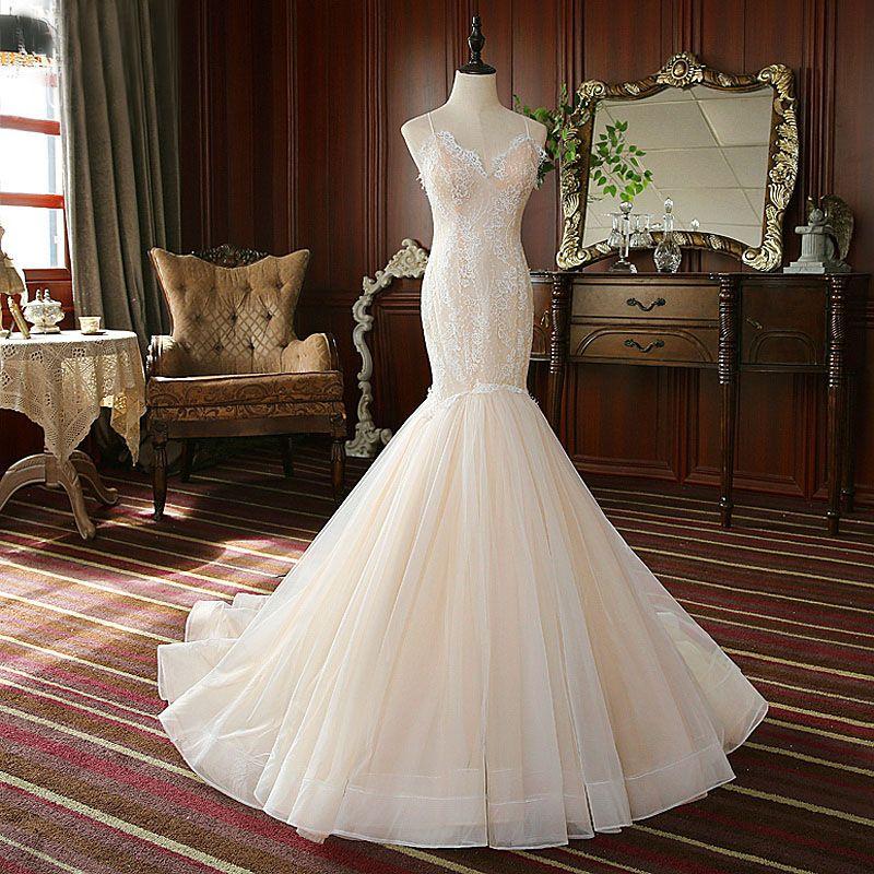 Sedutor Spaghetti Luz Champagne vestidos de casamento do laço apliques Mermaid Wedding Vestidos Sexy Back vestidos de noiva vestidos de noite
