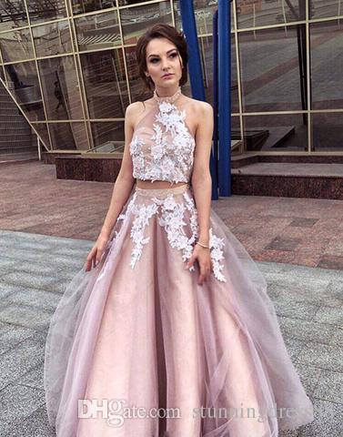 Compre Halter Blush Vestido De Fiesta Vestidos Largos De Noche Vestidos Formales 2019 Apliques De Encaje De Tul Sin Espalda Plisado Dos Piezas Vestido