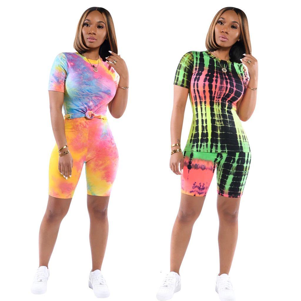 VHO93996 2018 Summer Wear Mulheres da Random Printing Sports Pants Suit Set duas peças Batch Printing2020319