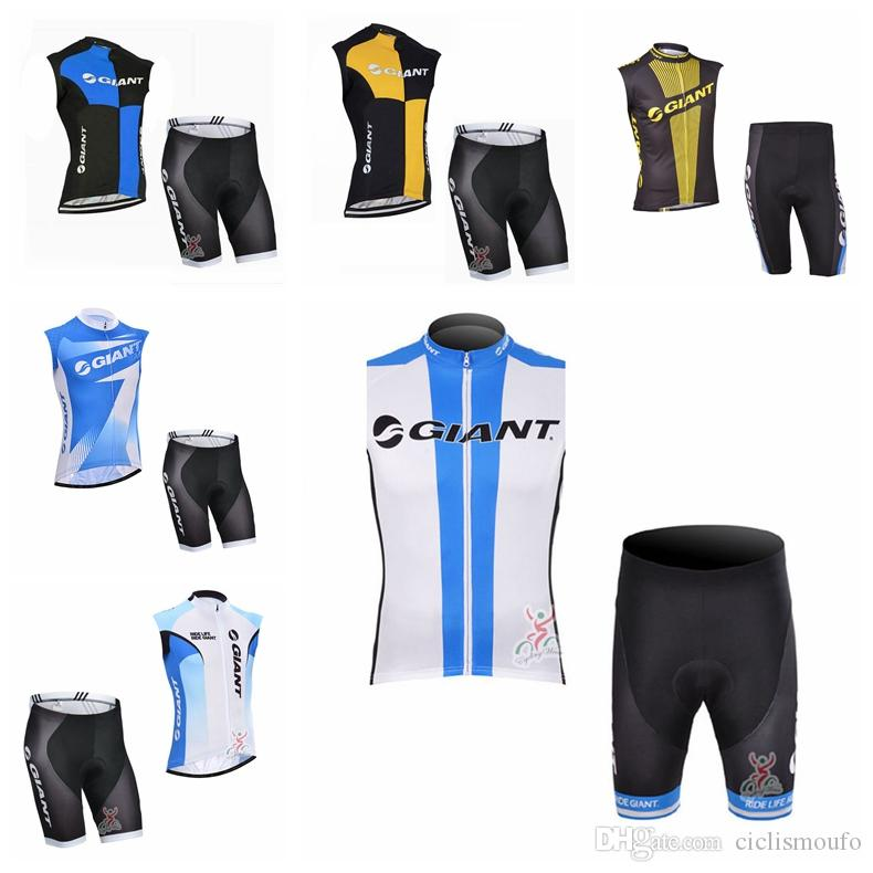 GIANT team summer men Cycling dust proof Sleeveless jersey Vest shorts sets Clothing Sportswear top quality H70801