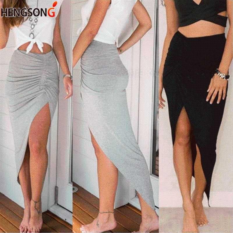Hengsong 2018 neue reizvolle unregelmäßige Röcke Frauen-Sommer-Charme-Split-langer Rock dünne Partei Bodycon Rock grau schwarz 732516