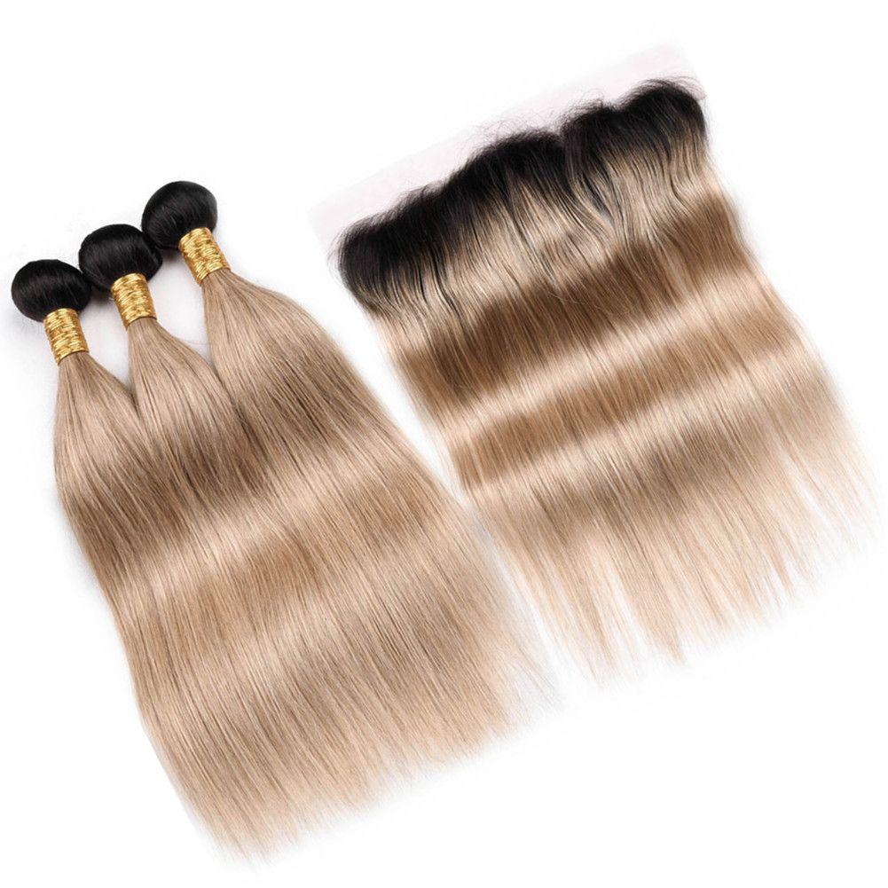 # 1B / 27 Honey Blonde Ombre малайзийских человеческих волос Плетение Утки с фронтальным 3Bundles Ombre Светло-коричневый ткет волос с полный шнурок лобной 13x4