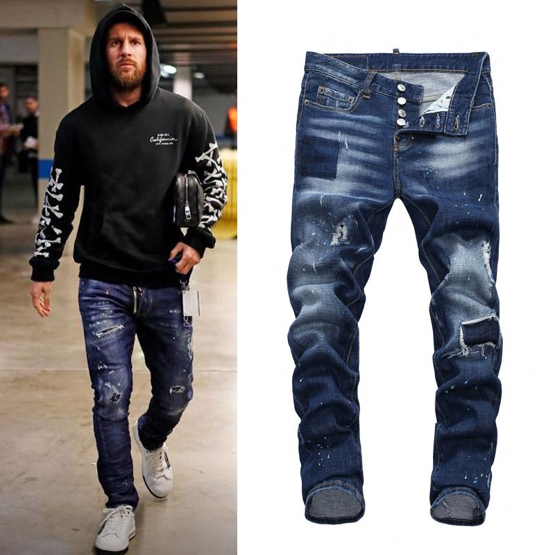 Skinny Jeans Men Designer Cool Guy Patchwork Ripped Bleach Wash Painted Effect Cowboy Trousers Denim Pants