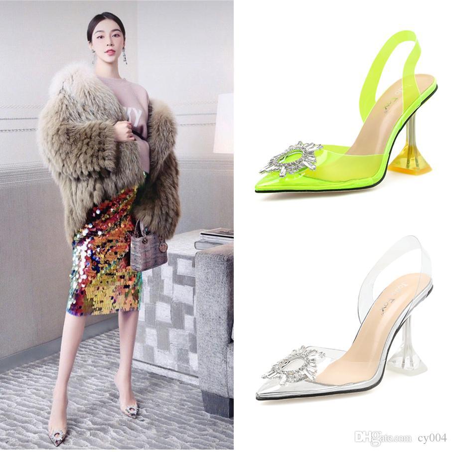 Mükemmel Resmi Kalite Amina Begum Kristal-süslenmiş Pvc Slingback Muaddi Begumglass Şeffaf Moda Ayakkabılar Sandalet pompaları