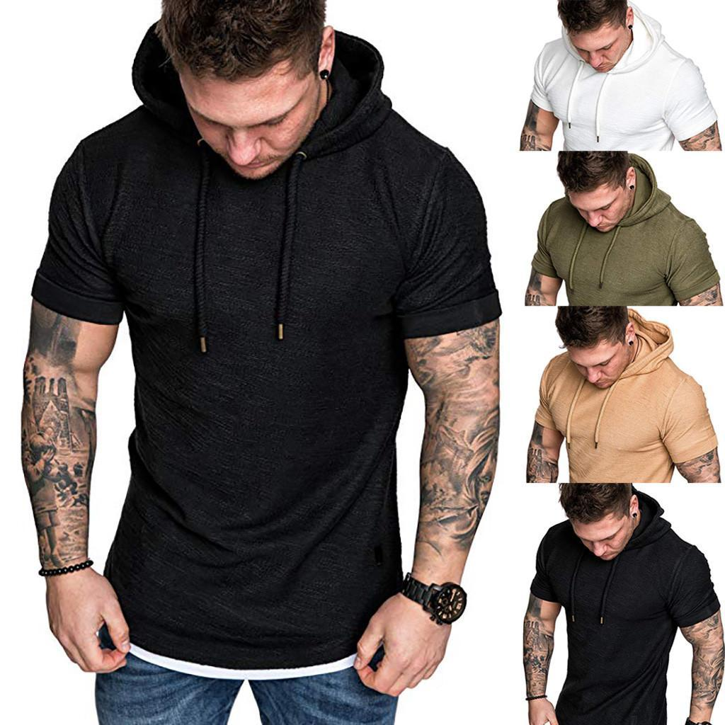 Tshirts Men 'S Summer Slim Fit Casual Pattern Large Size Short Sleeve Hoodie Top Blouse Casual Men Fashion Size M-3XL