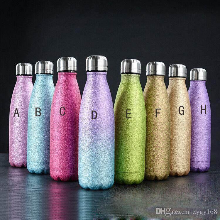 حار بيع 17oz زجاجة مياه معان مزدوجة الجدار معزول كولا زجاجات بريق بهلوان BPA الحرة معدنية رياضية زجاجة جميلة البريق طلاء