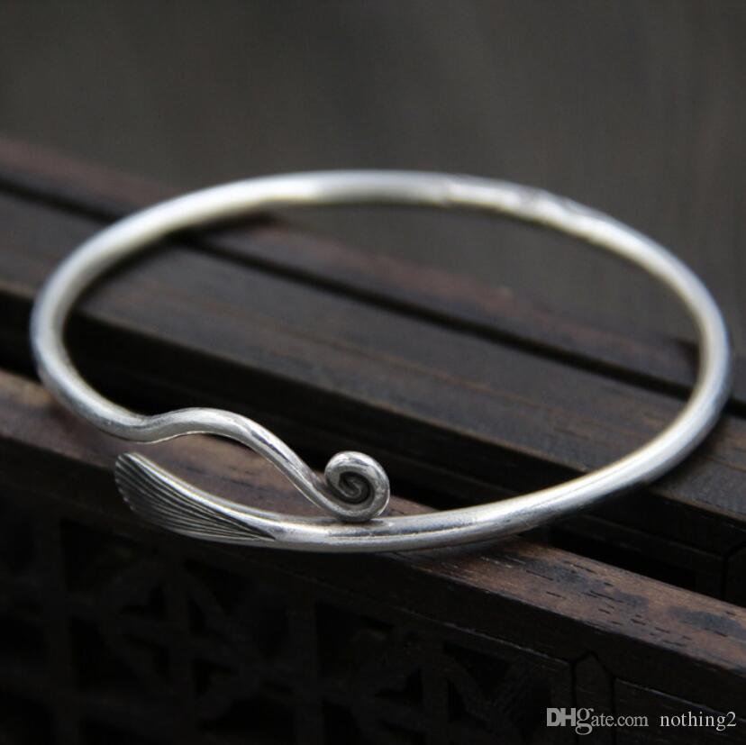 takı S999 gümüş bilezik nakliye klasik sıcak moda serbest kadınlar için basit bilezik açmak