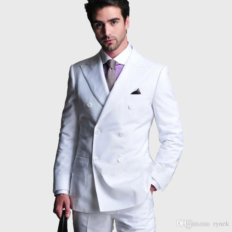 White Men Suits for Wedding Man Suits Blazers 2Piece (Coat+Pants)Groom Tuxedos Double Breasted Slim Fit Terno Masculino Costume Homme