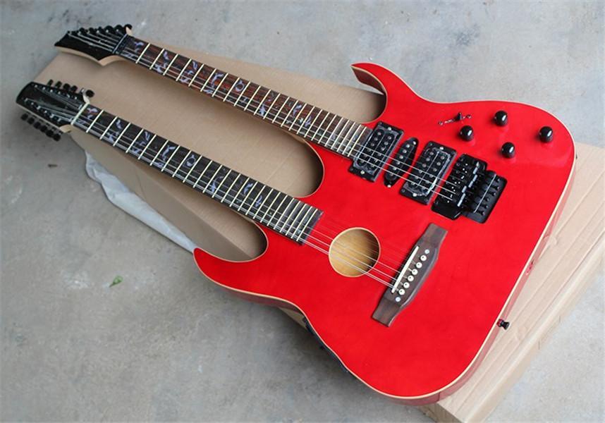 Pescoço dobro Red corpo semi-oco 6 + 12 guitarra elétrica Cordas com Hardware Preto, Rosewood Fingerboard, pode ser personalizado