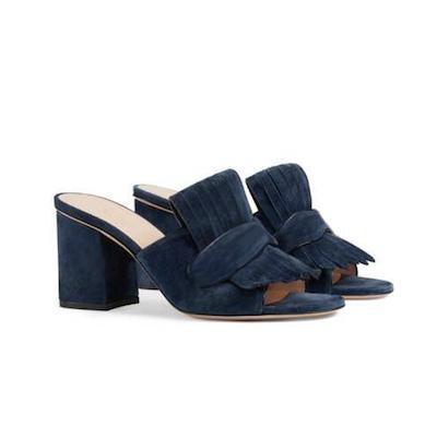 Women Suede Mid-heel Pump Sandal Platform Sandals Shoes Marmont Sandals with Fold over Fringe Real Leather High Heel with Box US11