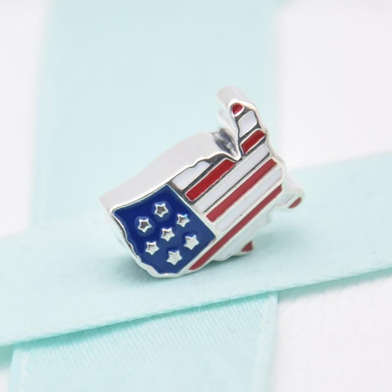 Free Shipping Large Hole Enamel USA America Country Flag Map Silver Alloy Bead Charm Fit Pandora Bracelets & Necklace
