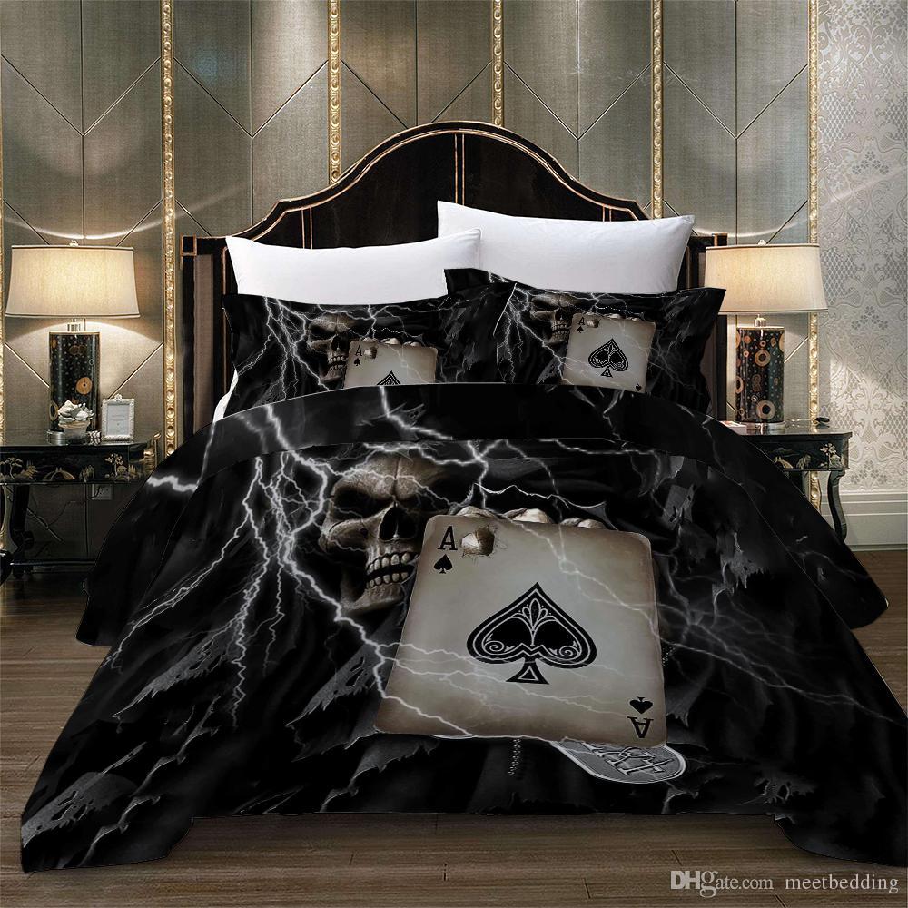Комплект постельного белья для домашнего текстиля Twin Full Queen Size 2 / 3шт. Пододеяльник с черным черепом в виде покера из пододеяльника.