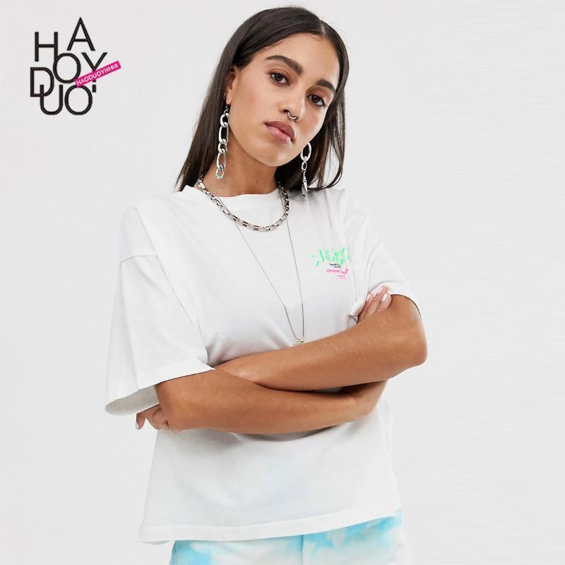 """Blanco creativo """"Waikiki"""" estilo común de plata verde con letras impresas de manga corta camiseta"""