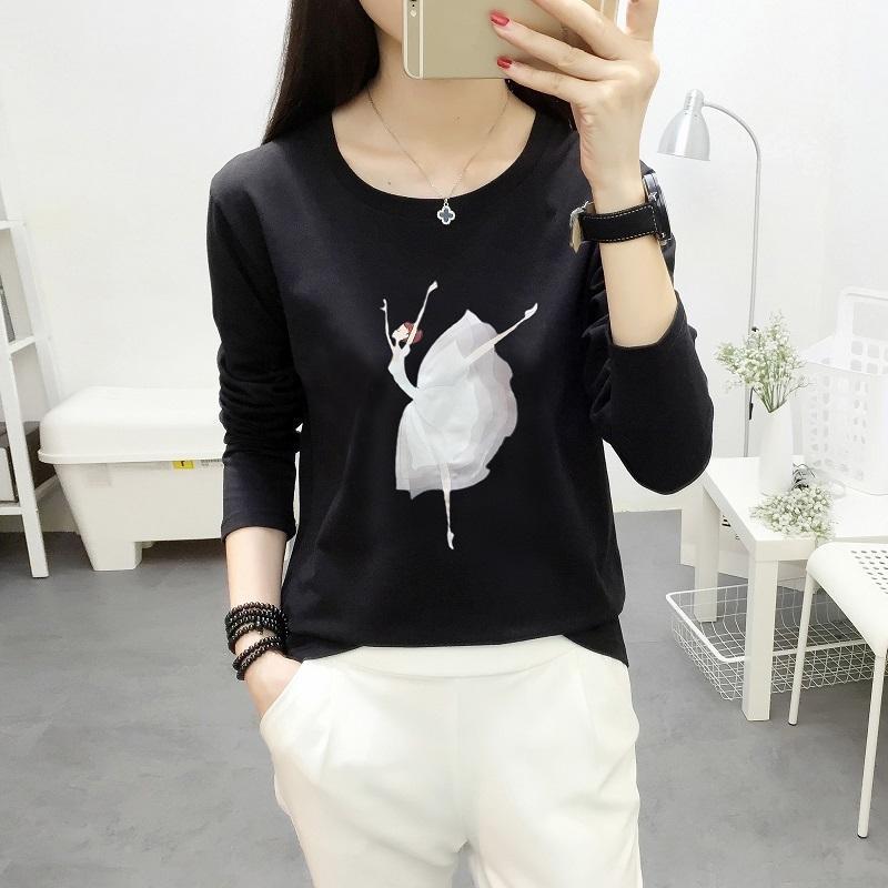 la mode T-shirt femme fille de ballet imprimé femmes manches longues T-shirt Femmes Tops 2018 Coton T-shirt décontracté Camisetas Mujer