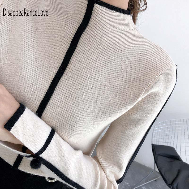 Triko Bayan Yumuşak Kore Stil Skinny Kış Turtleneck Kadınlar BODYCON Temel Kazaklar Uzun Kollu Çekme Femme Coat Kadın Üst